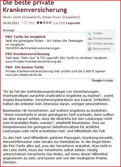 Interview Wirtschaftswoche PKV Tarifwechsel