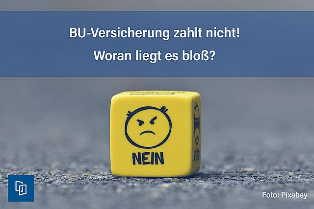 """BU-Versicherung zahlt nicht! Bild Würfel mit """"Nein"""""""